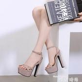 高跟鞋14cm超高跟夜場粗跟防水臺魚嘴涼鞋15cm恨天高舞臺模特走秀高跟鞋 2020新品
