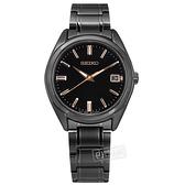SEIKO 精工 / 6N42-00L0SD.SUR513P1 / 簡約時尚 藍寶石水晶玻璃 日期 不鏽鋼手錶 鍍黑 36mm