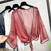 19夏季短款防曬開衫女喇叭袖上衣雪紡薄外套搭配吊帶裙的小外披肩
