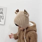 韓版女童秋冬帽子男童帽寶寶毛線保暖護耳兒童圣誕鹿角針織手工帽 9號潮人館