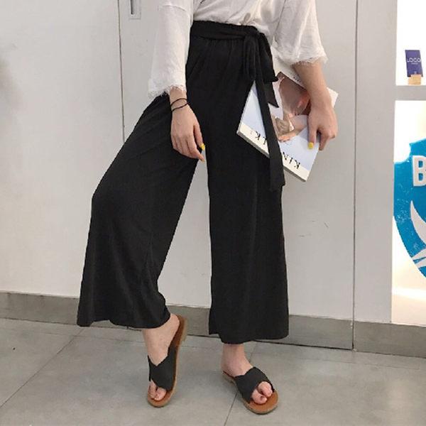 [超豐國際]夏裝復古氣質黑色系帶九分直筒闊腿長褲寬松顯瘦高腰1入