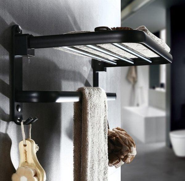 黑潮流【免釘牆】太空鋁單層帶鈎毛巾架精品衛浴 歐式浴室架黑時尚(50公分)