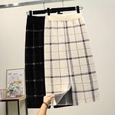 加厚仿水貂絨半身裙針織中長款秋冬款開叉包臀毛線一步長裙子 朵拉朵