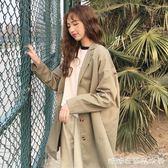 春秋女裝新款韓版寬鬆百搭風衣中長款長袖復古休閒西裝領外套 糖糖日系森女屋