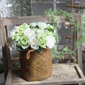 歐式婚慶仿真手捧花玫瑰花束家居桌面擺件假花工藝品裝飾插花干花   泡芙女孩輕時尚