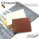 Crocodile鱷魚皮夾真皮短夾男夾皮包-上翻固定0103-58032咖啡