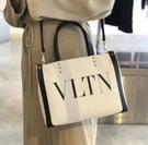 ■專櫃88折■全新真品■Valentino VLTN 帆布迷你購物2用包
