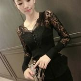新款韓版蕾絲打底衫長袖修身顯瘦外穿上衣小衫鏤空蕾絲衫 黛尼時尚精品
