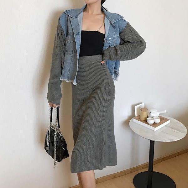 套裝 針織拼接袖牛仔外套+針織長裙(共2色)小豬兒 Mini Jule  【KHA82006620】。現+預
