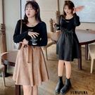 (現貨+預購FUWAFUWA)- 加大尺碼小性感拼接長袖洋裝