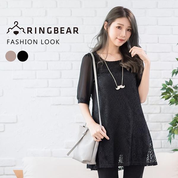性感--浪漫透膚袖鉤織蕾絲傘狀下襬附編織綁帶連身裙(黑.可可XL-5L)-D341眼圈熊中大尺碼