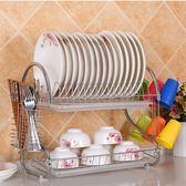 廚房用品 不鏽鋼多功能雙層餐具碗盤瀝水置物架 【KHS026】123OK
