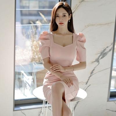 洋裝OL連身裙S-XL3248#韓版氣質方領短袖修身顯瘦中長款包臀開叉連身裙NA07B快時尚