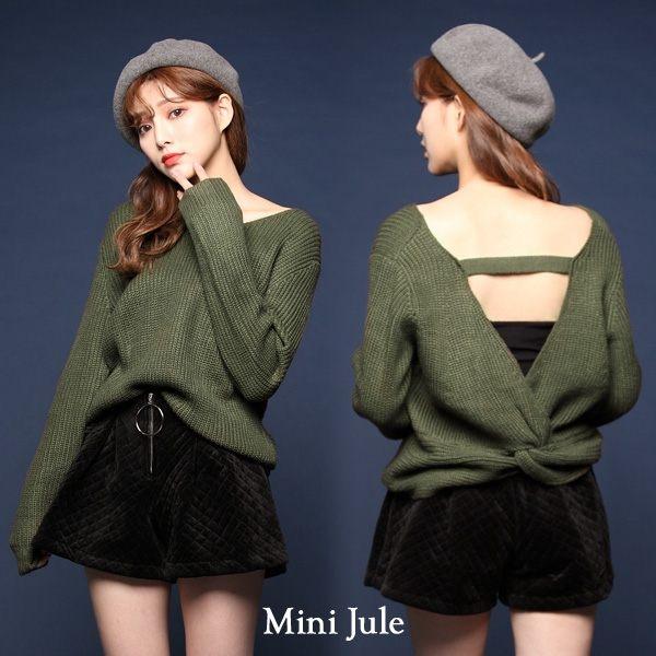 ★現貨★針織毛衣 後扭結V領造型毛衣(綠) 小豬兒 MiNi Jule 【SUI72007114】