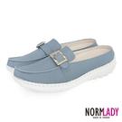 女鞋 穆勒鞋 氣墊鞋 拖鞋 氣質小方釦真皮磁石內增高球囊穆勒鞋-MIT手工鞋(天灰藍)Normlady諾蕾蒂