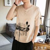 亞麻衫 日系復古男裝亞麻t恤中版風棉麻潮流寬鬆短袖體恤夏季半截袖荷花 小艾時尚