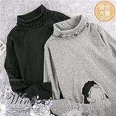(大童款-女)捲捲領邊素面長袖上衣-2色(可單穿或內搭背心裙洋裝)(280650)【水娃娃時尚童裝】
