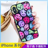 搞怪表情玻璃殼 iPhone iX i7 i8 i6 i6s plus 手機殼 黑邊軟框 保護殼保護套 防摔殼