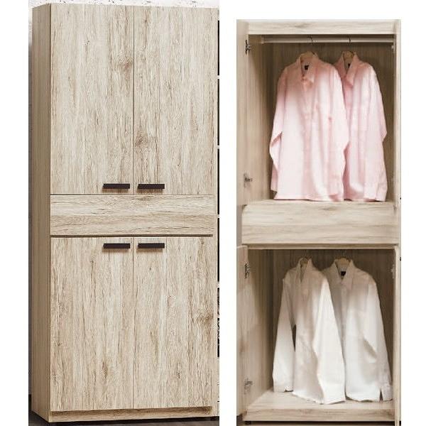 衣櫃 衣櫥 BT-45-5 威力橡木色2.5尺中抽雙吊衣櫥【大眾家居舘】