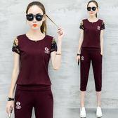 休閒運動套裝女夏新款韓版跑步服大碼女裝短袖七分褲兩件套