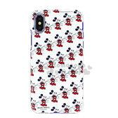 〔小禮堂〕迪士尼 米奇 iPhoneX 塑膠手機殼《白.滿版》硬殼 4536219-84809