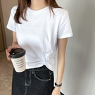 韓版T恤 短袖上衣棉小心機短款T恤女短袖上衣圓領修身女裝夏裝純色打底衫T305依佳衣