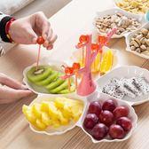 點心盤創意家用客廳水果盤塑料配叉零食干果盤點心盤子果盆        萌萌小寵