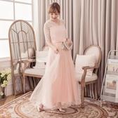 [88136-S]V領玫瑰蕾絲高雅綢緞網紗長裙五分袖小禮服/伴娘服/尾牙--小三衣藏