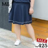 Miss38-(現貨)【A04806-1】休閒深藍 運動套裝(短裙) 純棉彈力 鬆緊腰頭 大碼短裙 裙子- 中大尺碼