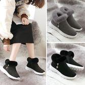 冬季新款加絨軟底女鞋時尚百搭毛毛短靴加厚平底休閑高幫鞋