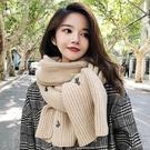 圍巾女生韓版學生百搭針織長款加厚保暖仙人掌小清新毛線圍脖 快速出貨