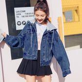 牛仔外套女春秋2019新款韓版寬鬆bf風學生怪味可拆卸連帽牛仔衣服