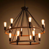 新年禮物-吊燈 北歐複古吊燈創意酒吧美式鄉村服裝店咖啡廳餐廳鐵藝麻繩吊燈WY