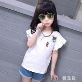 女童短袖t恤2019新款夏裝韓版寬鬆半袖中大童兒童純棉薄款上衣潮 QG24246『優童屋』