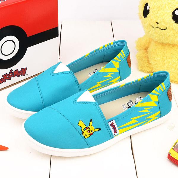 童鞋城堡-神奇寶貝(寶可夢) 女款 電波設計帆布鞋PA7312-藍/綠 (共兩色)