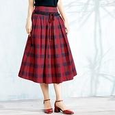 棉麻長裙-優雅氣質方格設計半身女裙子73hr18[巴黎精品]