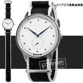 HyperGrand / NWSGSWMONO / Straight Jacquard 極簡工業風獨立秒針藝術印花尼龍手錶 白x黑 40mm