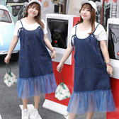 中大尺碼~俏皮短袖吊帶連衣裙(XL~4XL)