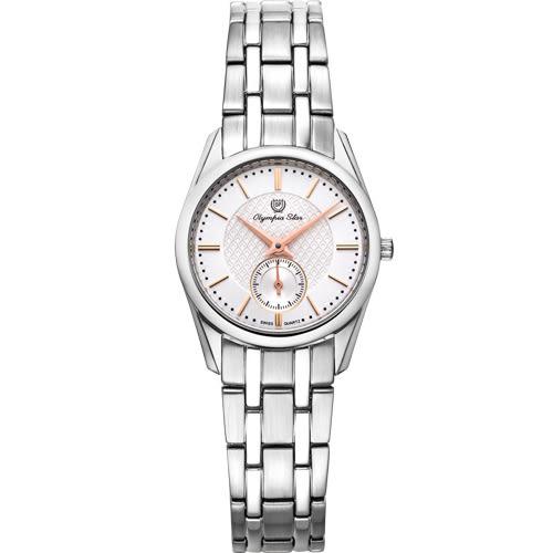 Olympia Star 奧林比亞之星 經典都會系列小秒針時尚計時腕錶(品味白)26mm