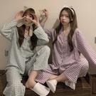 長袖睡衣秋季年新款韓版寬鬆簡約格子長袖睡衣睡褲兩件套家居服套裝女 JUST M