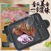 韓式麥飯石卡式爐電磁爐烤盤家用不粘無煙烤肉鍋商用燒烤盤鐵板燒QM 美芭