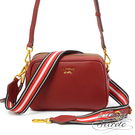 La Poche Secrete側背包 簡約真皮雙拉鍊織帶2WAY側斜背相機包-酒紅色 BMC-5012N