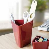 ◄ 生活家精品 ►【H39-1】三角造形雙層文具筒 筆筒 畫具 繪畫 工具 桌面 收納 化妝品 分層 整齊
