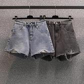 短褲牛仔褲百搭中大尺碼L-4XL大碼牛仔短褲寬鬆顯瘦熱褲R26-3396.胖胖唯依