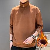 半高領連帽T恤男士2020新款潮流秋冬季加絨加厚上衣服冬裝保暖打底衫 牛年新年全館免運