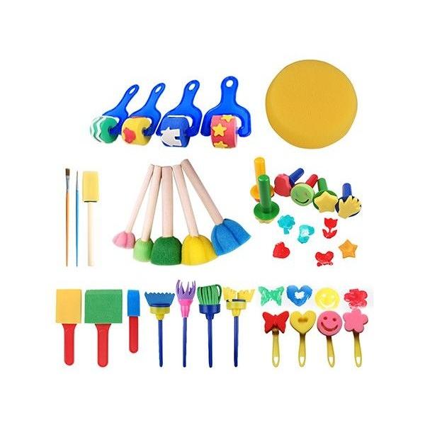 兒童繪畫海綿塗鴨工具(30件套組) 顏色隨機出貨【小三美日】