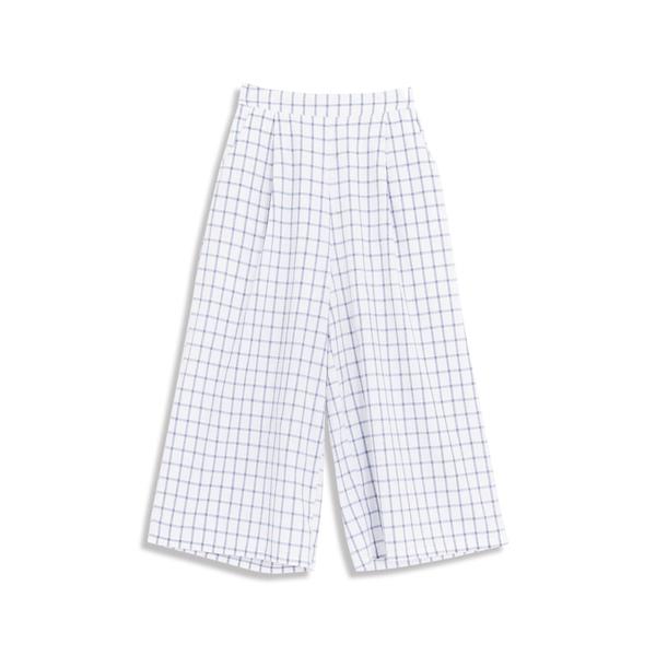 Queen Shop【04110270】休閒配色格紋後鬆緊腰寬褲 兩色售 S/M/L*現+預*