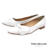 Tino Bellini義大利進口典雅領結尖頭娃娃鞋_ 白 A73002 歐洲進口款