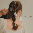 PUFII-髮夾 蝴蝶髮夾+珍珠編髮鍊髮夾(三入一組)-0709 現+預 夏【CP20770】