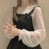 超仙氣日繫軟妹荷葉邊長袖蕾絲衫Lolita洛麗塔內搭打底衫女夏 雙11 伊蘿